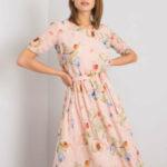Světle růžové midi šaty s květinovými vzory