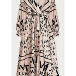Vzorované maxi šaty v lososové barvě (682/4ART)