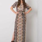 Béžové maxi šaty se vzory