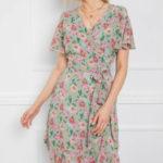 Mátové šaty RUE PARIS s květinovým potiskem