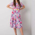 Fialové květinové midi šaty