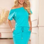Světle modré dámské sportovní šaty s krátkými rukávy 56-8