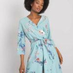 Dámské modré šaty s květinovými vzory