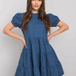 RUE PARIS Tmavě modré šaty s volánkem
