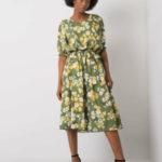 Zelené květinové midi šaty