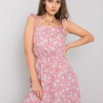 Růžové šaty s květinovými potisky