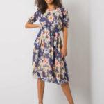 Navy midi šaty s květinovými vzory