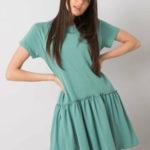 Zelené bavlněné šaty s volánkem