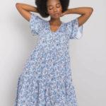 RUE PARIS Modré květinové šaty s volánkem