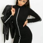 Černé šaty s pruhy