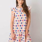 Dámské světle růžové květinové šaty s volánkem
