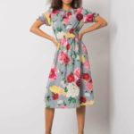 Šedé midi šaty s květinovým motivem
