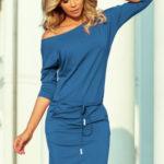 Dámské viskózové sportovní šaty v džínové barvě se zavazováním a kapsičkami 13-133