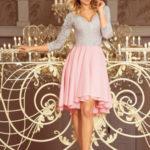 Dámské šaty s asymetrickou sukní 210-5 – Růžovo-šedé