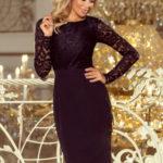Dámské společenské šaty – 216-2 – krajkové s dlouhým rukávem – Černé