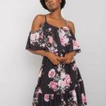 OCH BELLA Černé květinové šaty s volánkem
