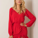 RUE PARIS Červené dámské šaty s volánkem