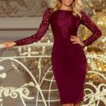 Dámské společenské šaty krajkové s dlouhým rukávem – 216-3 – Bordó