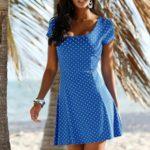 Beach Time Letní šaty Beachtime královská modř-bílá s potiskem