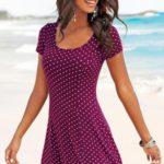Beach Time Letní šaty Beachtime nachový-bílá s potiskem