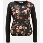 Černé dámské květované tričko s dlouhým rukávem Garcia Jeans