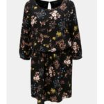 Černé květované šaty s průstřihem na zádech Jacqueline de Yong