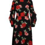 Černé květované šaty s volány na rukávech AX Paris