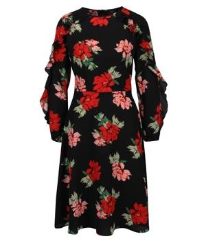 Černé květované šaty s volány na rukávech AX Paris  2195bffd734