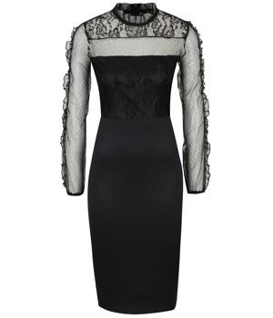 Černé pouzdrové šaty s krajkovým sedlem a rukávy AX Paris ... a60cbebe1c