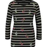 Černé pruhované tričko s potiskem a 3/4 rukávem Dorothy Perkins