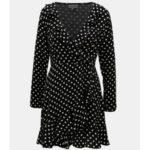 Černé vzorované šaty s volánem Apricot