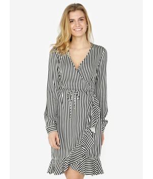 f8ec85e50906 Černo-bílé pruhované zavinovací šaty s volánem VERO MODA Lizette ...