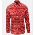 Červená slim fit košile s vánočním motivem ONLY & SONS Funny Christmas