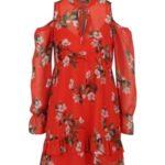 Červené květované šaty s průstřihy na ramenou Miss Selfridge