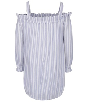 Krémovo-modré pruhované šaty s odhalenými rameny Miss Selfridge ... 764dc210a9