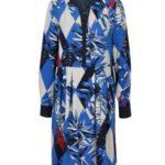 Krémovo-modré vzorované šaty s dlouhým rukávem Tommy Hilfiger