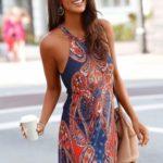 LASCANA Letní šaty v kašmírovém designu Lascana námořní modř/červená
