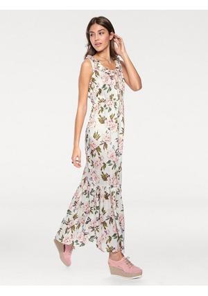 LINEA TESINI by heine Dlouhé šaty s květinovým potiskem Linea Tesini by  heine vlněná bílá-pestrá – krátké velikosti 6b0134b5f0