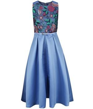 23d632c8cb06 Modré midišaty s květovaným topem a páskem Closet