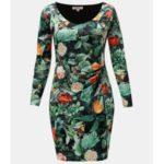 Oranžovo-zelené květované šaty s řasením na boku La Lemon