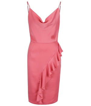 3e7f2e40c983 Růžové šaty s řasením v dekoltu a volánem Miss Selfridge ...