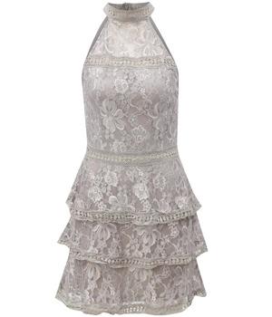 Světle šedé květované šaty bez ramínek AX Paris  ee51560536