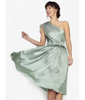 Světle zelené asymetrické šaty s volánem Little Mistress ... cbd0ce0035