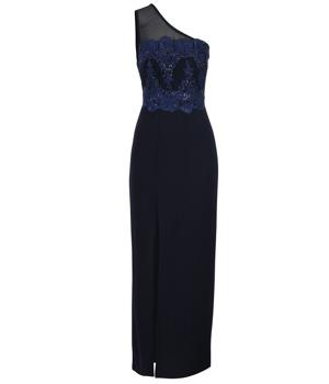 1283ca7282f4 Tmavě modré dlouhé asymetrické šaty s výšivkou AX Paris