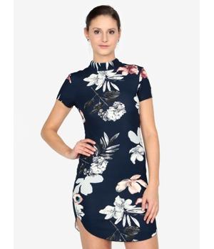 0b4bd08399 Tmavě modré pouzdrové květované šaty AX Paris