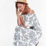 Top Secret šaty dámské dlouhé bílé se vzorem