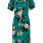 Zelené květované šaty s odhalenými rameny Dorothy Perkins