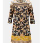 Žluto-modré vzorované šaty s 3/4 rukávy Desigual Paula